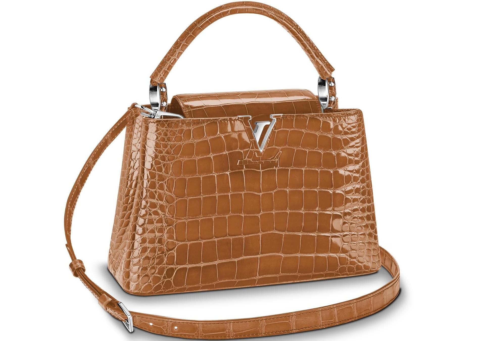 Louis Vuitton Capucines Crocodile Brillant Silver-tone PM Sienne