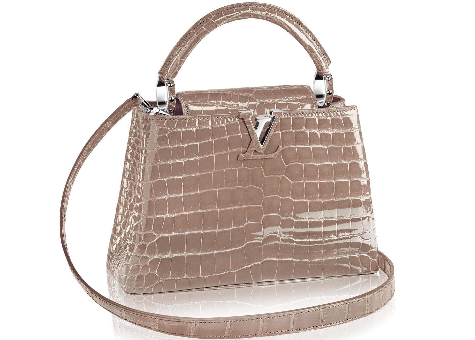 Louis Vuitton Capucines Crocodile Brillant Silver-tone PM Taupe