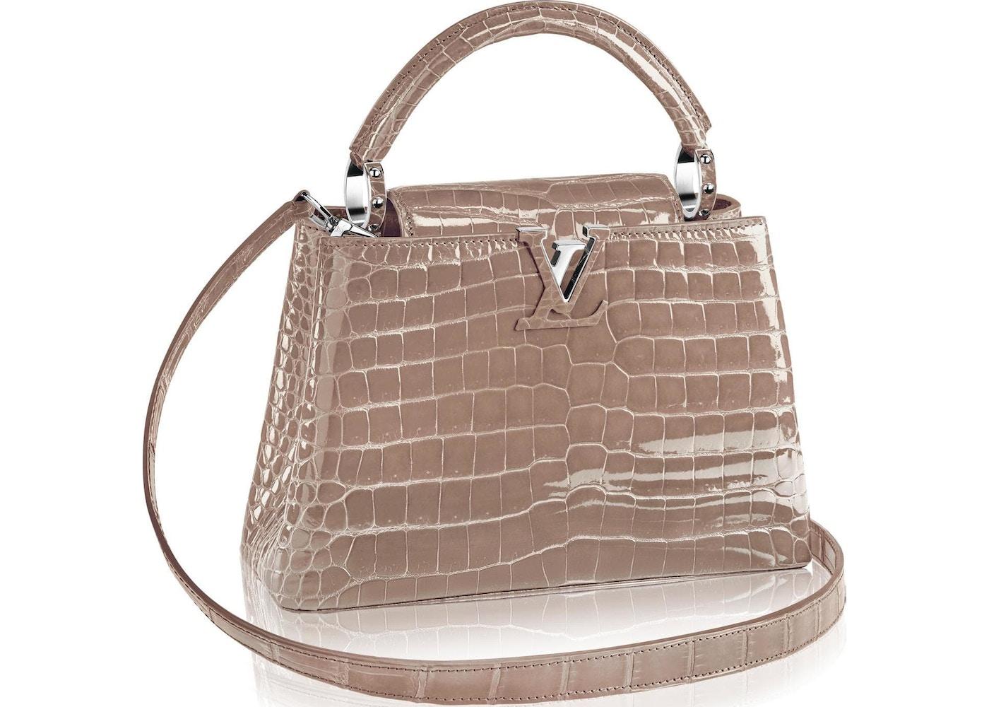 bbeeea4bbf49ec Louis Vuitton Capucines Crocodile Brillant Silver-tone PM Taupe