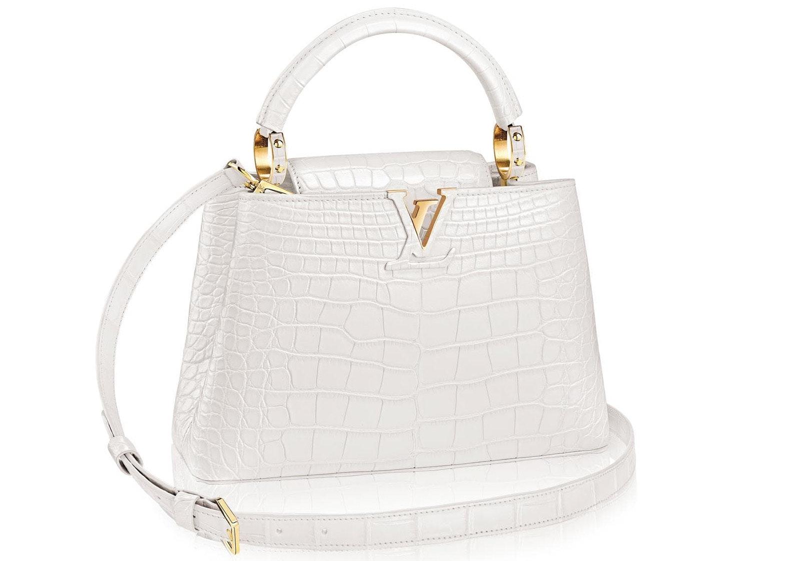 Louis Vuitton Capucines Crocodile Gold-tone BB White