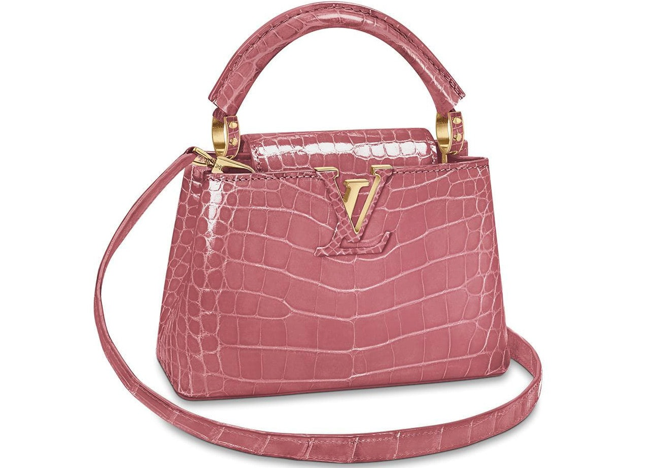 Louis Vuitton Capucines Crocodile Leather Gold-tone Mini Rose Tourmaline