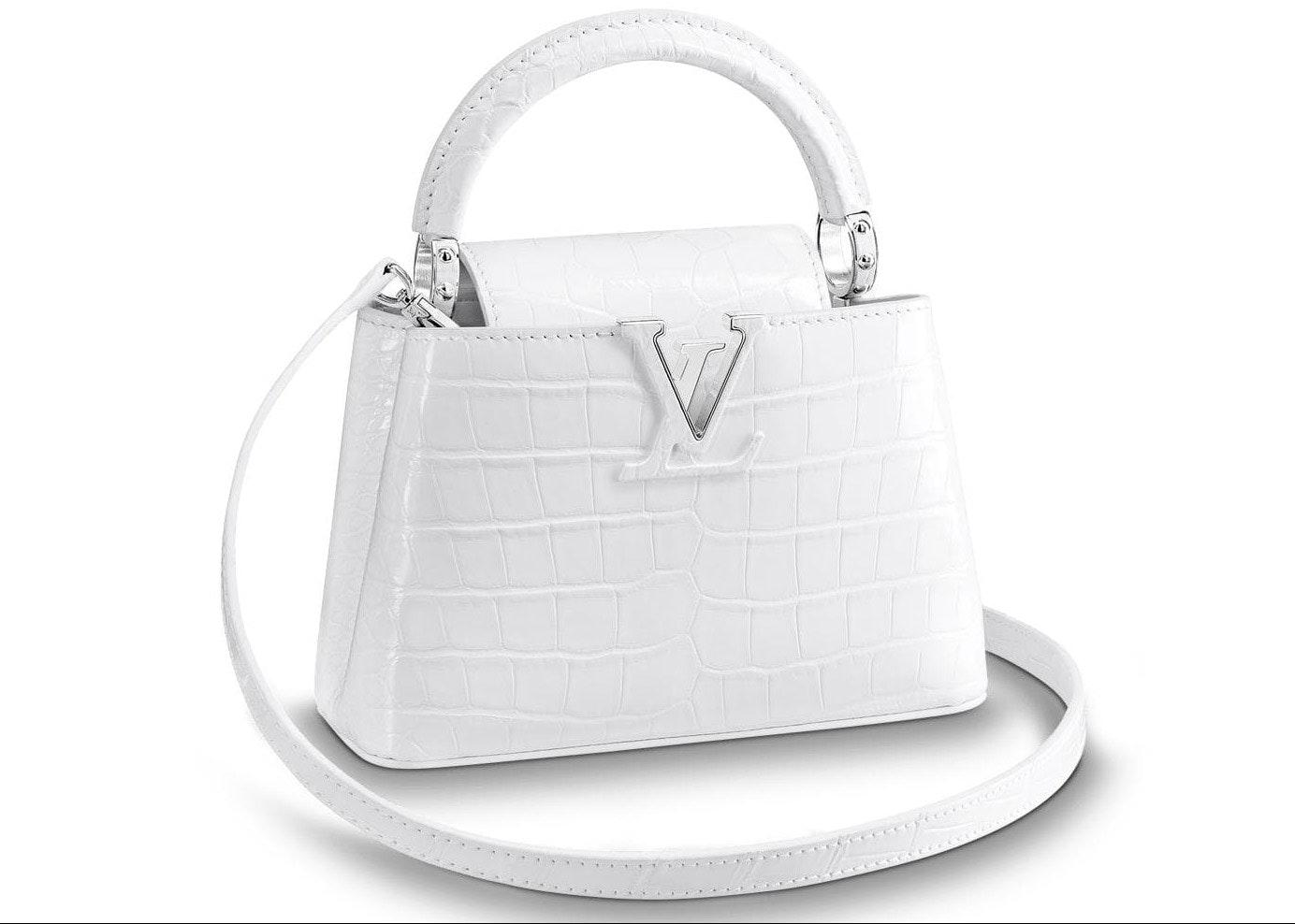 Louis Vuitton Capucines Crocodile Leather Silver-tone Mini Blanc