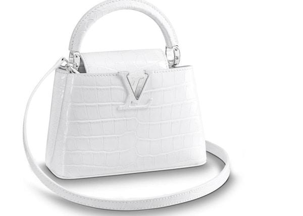 43527bf0a6da Louis Vuitton Capucines Crocodile Leather Silver-tone Mini Blanc