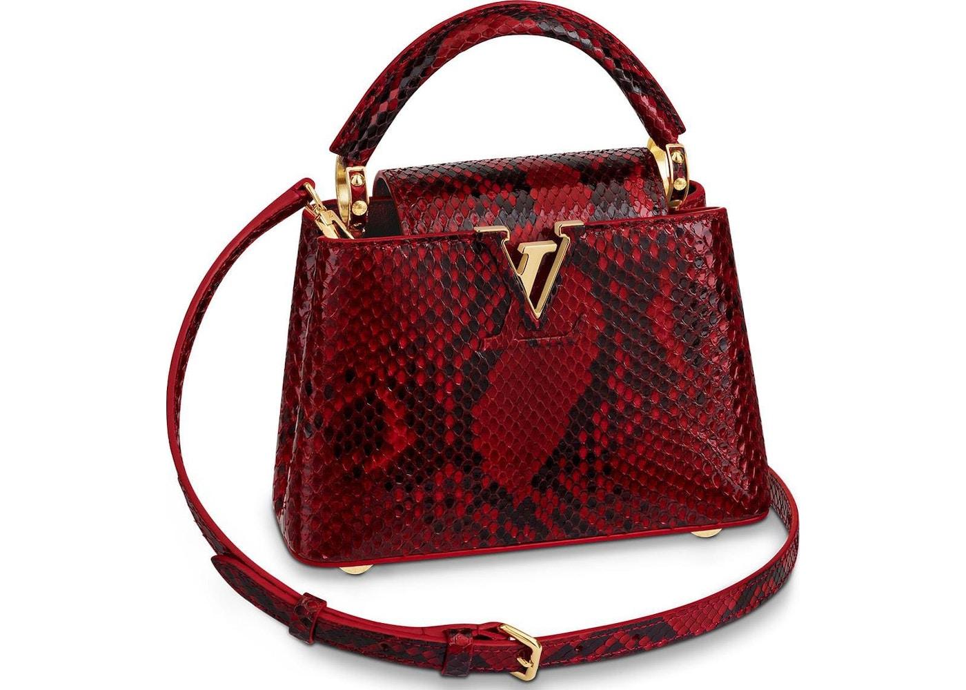 Louis Vuitton Capucines Python Gold Tone Mini Rouge