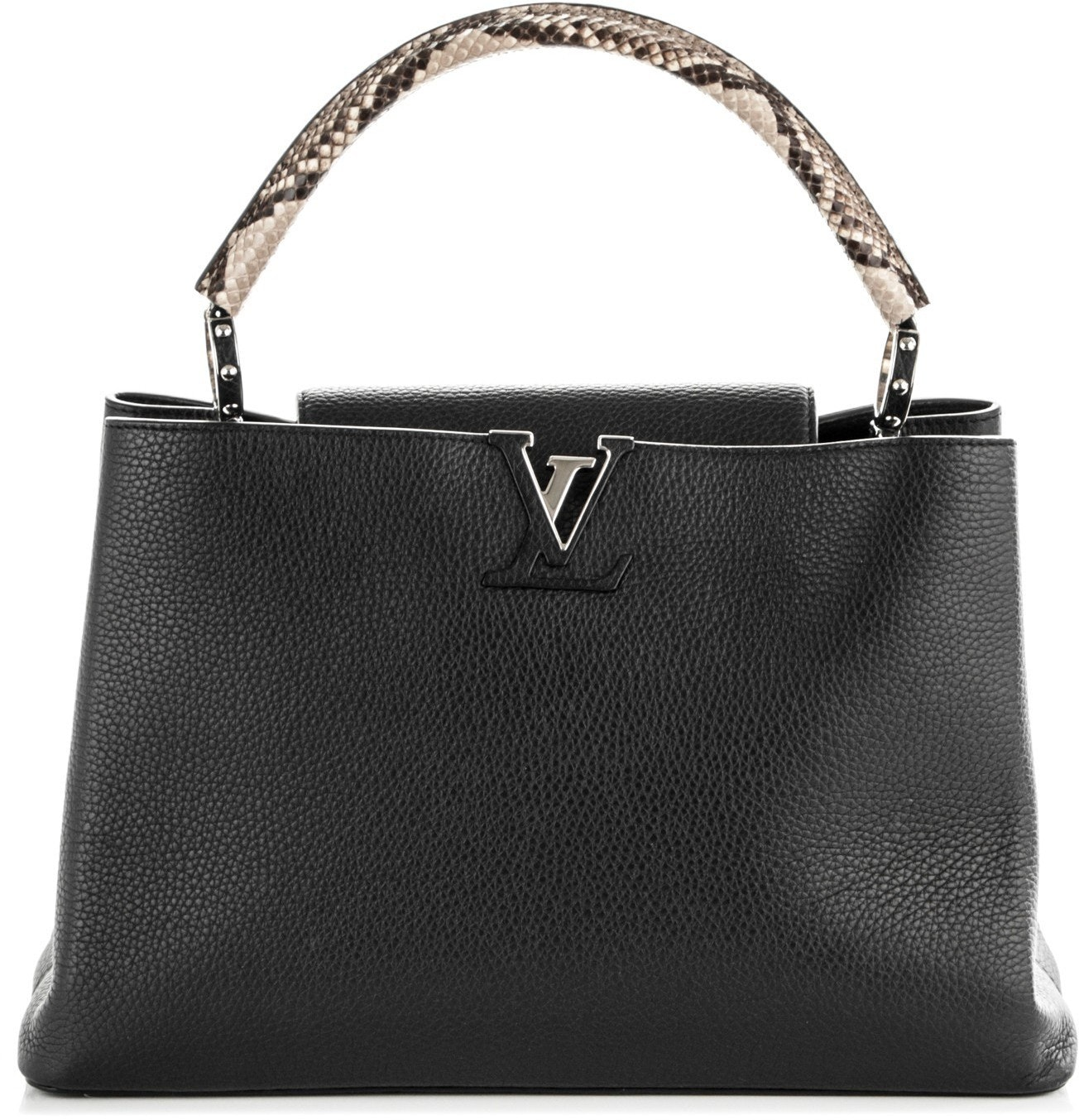 Louis Vuitton Capucines Python Handle Taurillon MM Noir Black