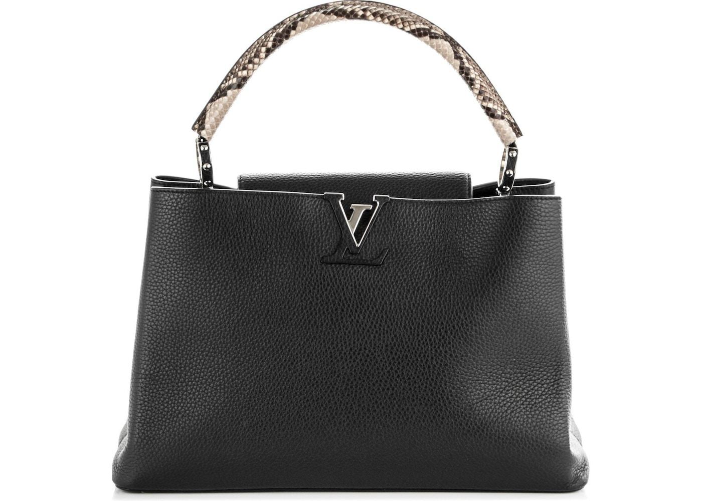 e63516d08d53f1 Louis Vuitton Capucines Python Handle Taurillon MM Noir Black