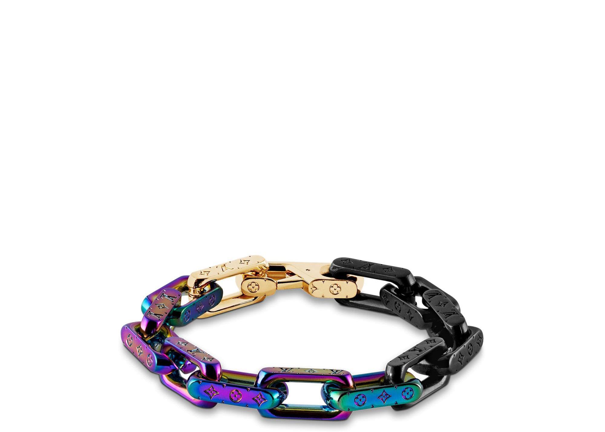 Louis Vuitton Chain Bracelet Engraved Monogram Colors Black/Gold/Multicolor