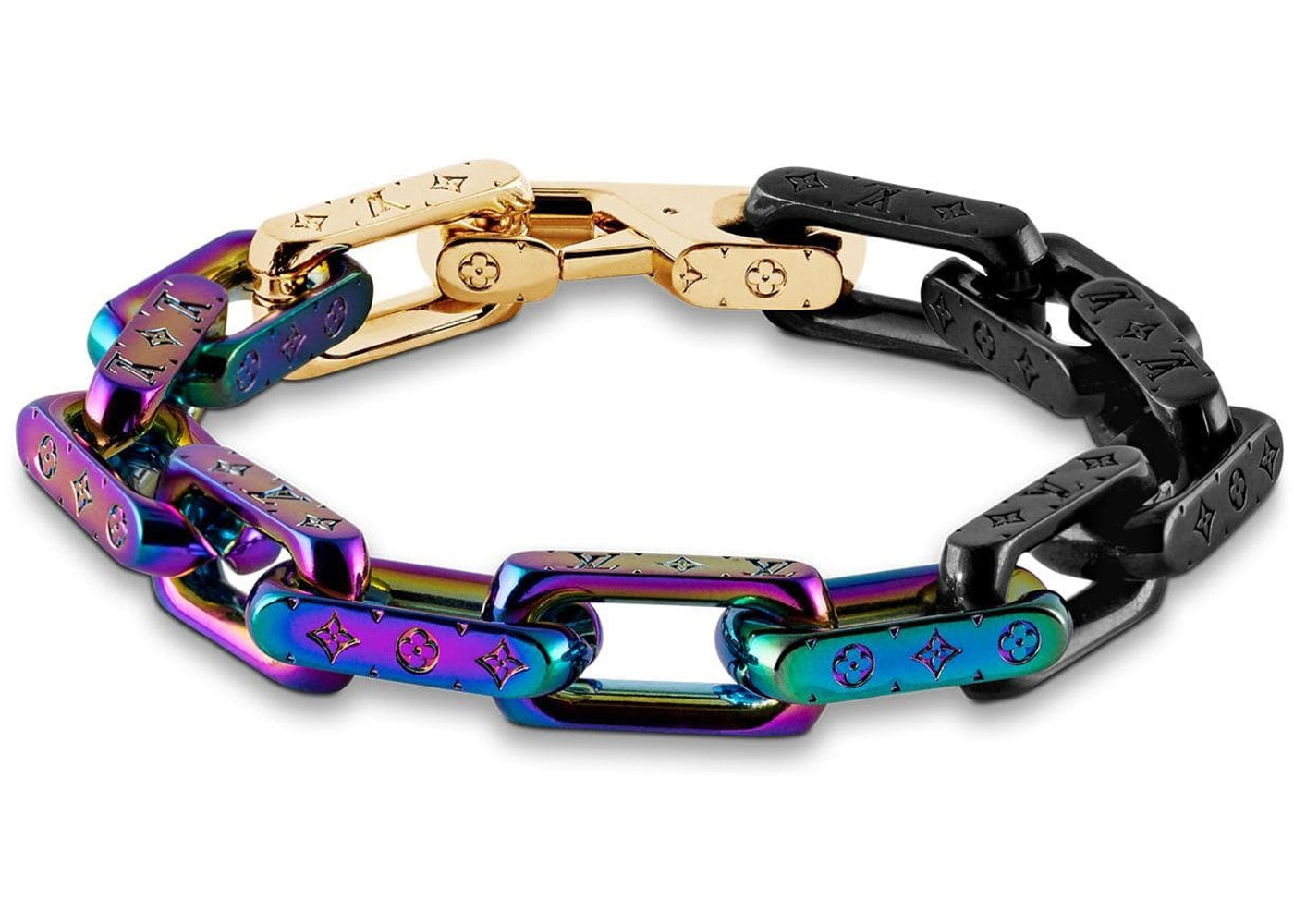 Louis Vuitton Chain Bracelet Engraved Monogram Colors Black Gold Multicolor