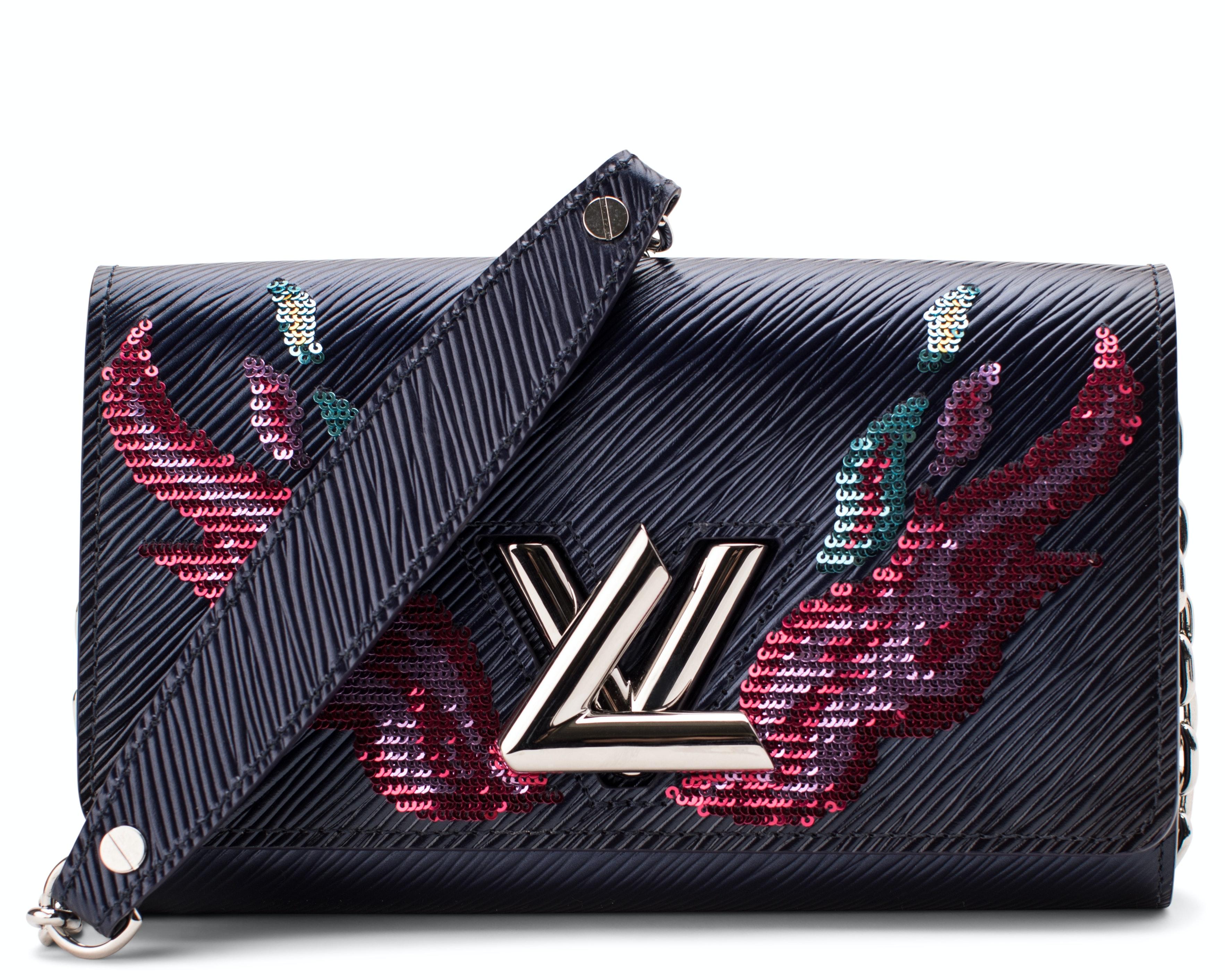 Louis Vuitton Chain Wallet Twist Epi Embelished Embelished Blue