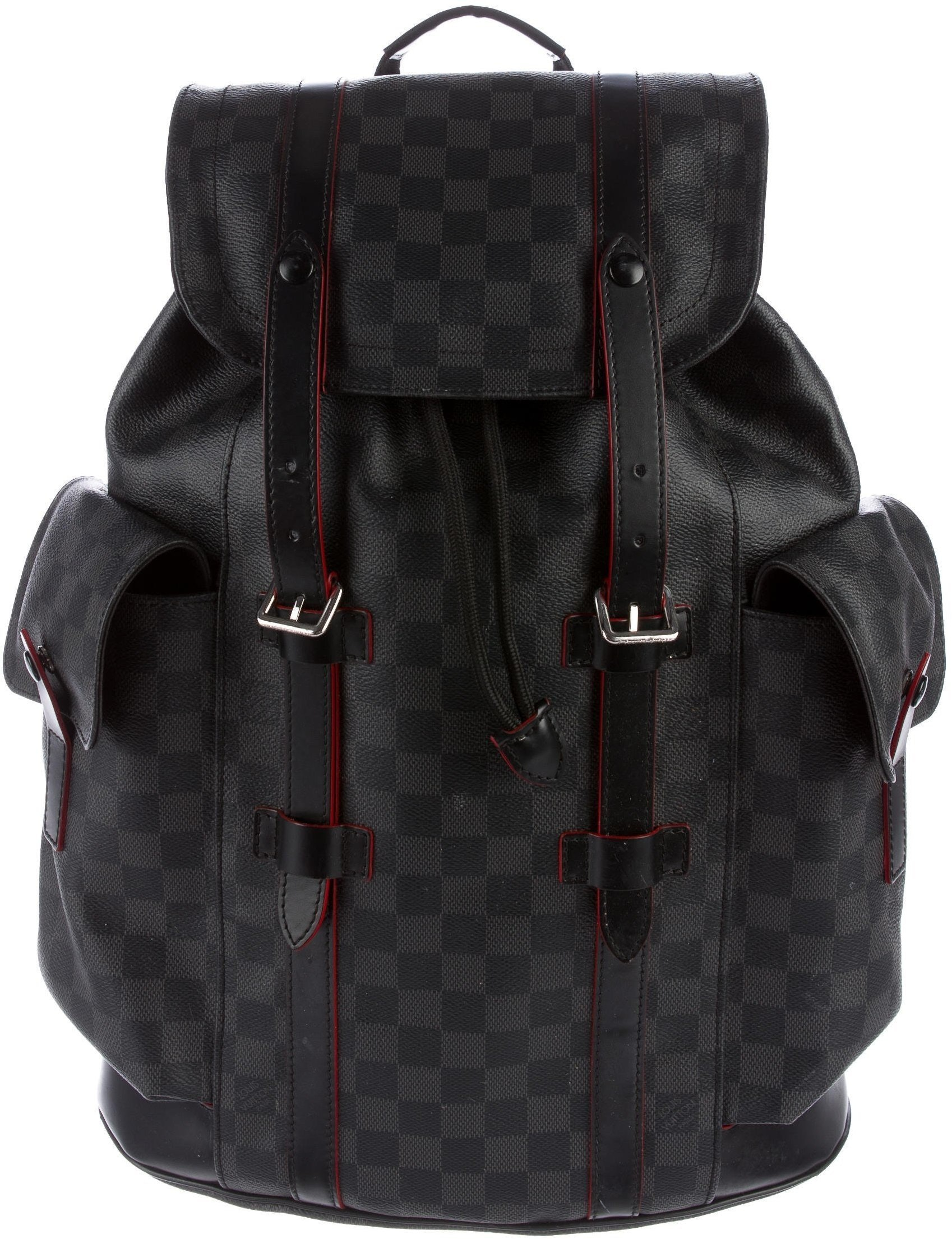 Louis Vuitton Christopher Backpack Red Trim Damier Graphite Grey