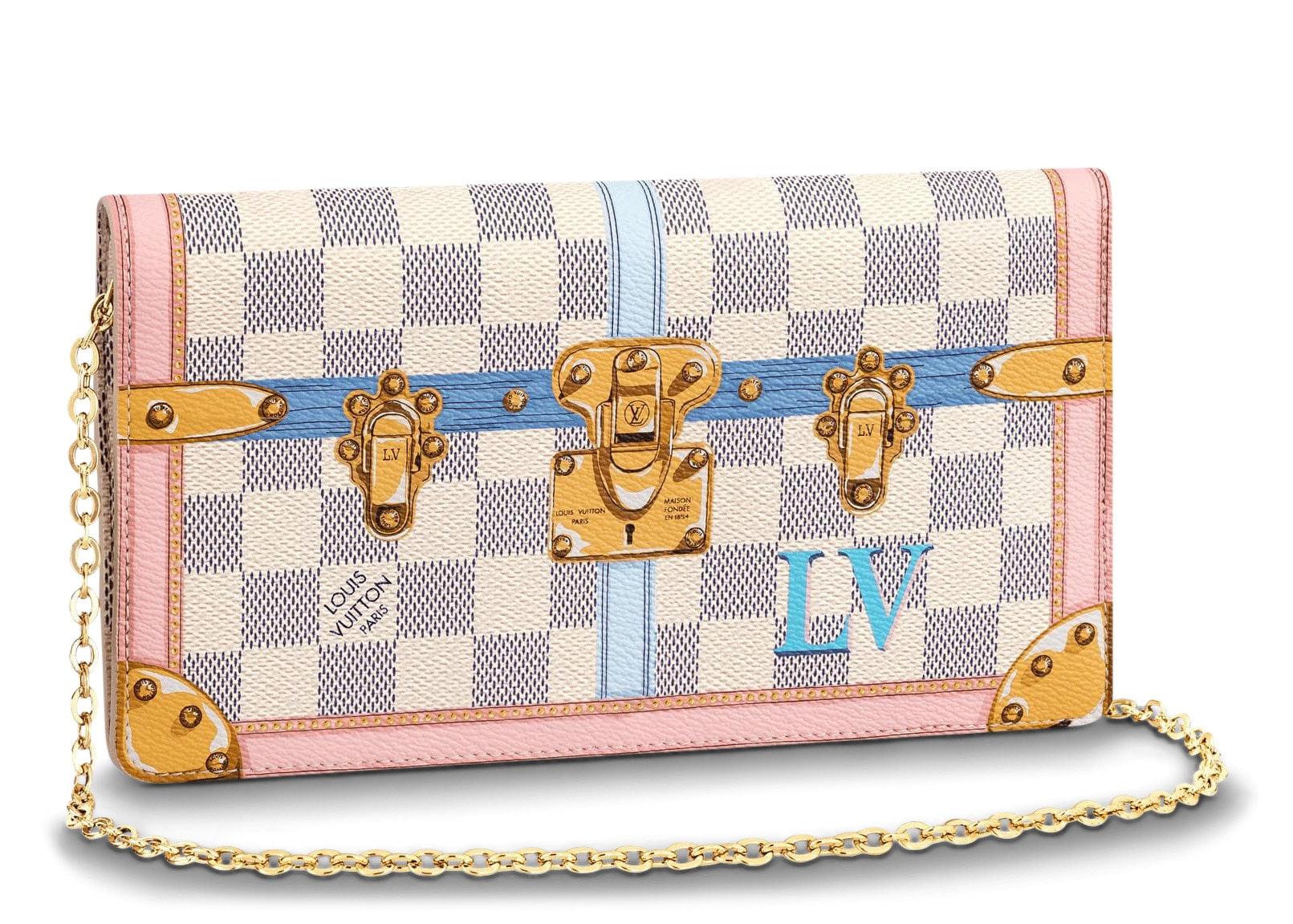 Louis Vuitton Clutch Pochette Weekend Damier Azur Summer Trunk Collection White/Blue/Pink