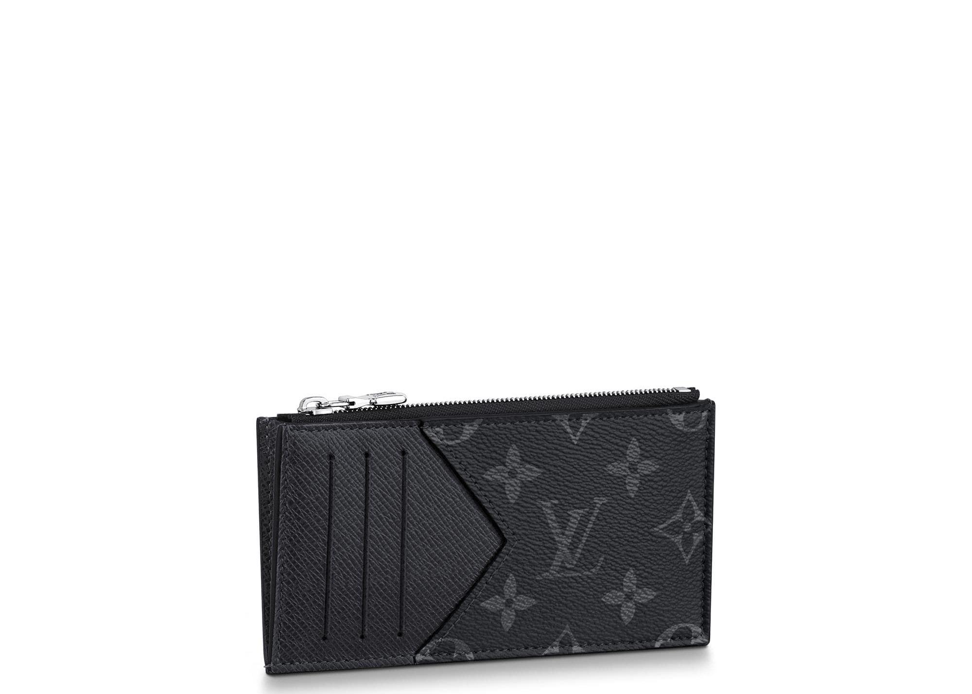 Louis Vuitton Coin Card Holder Monogram Eclipse Taiga Black