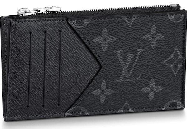 5806ddf9c9bd Louis Vuitton Coin Card Holder Monogram Eclipse Taiga Black