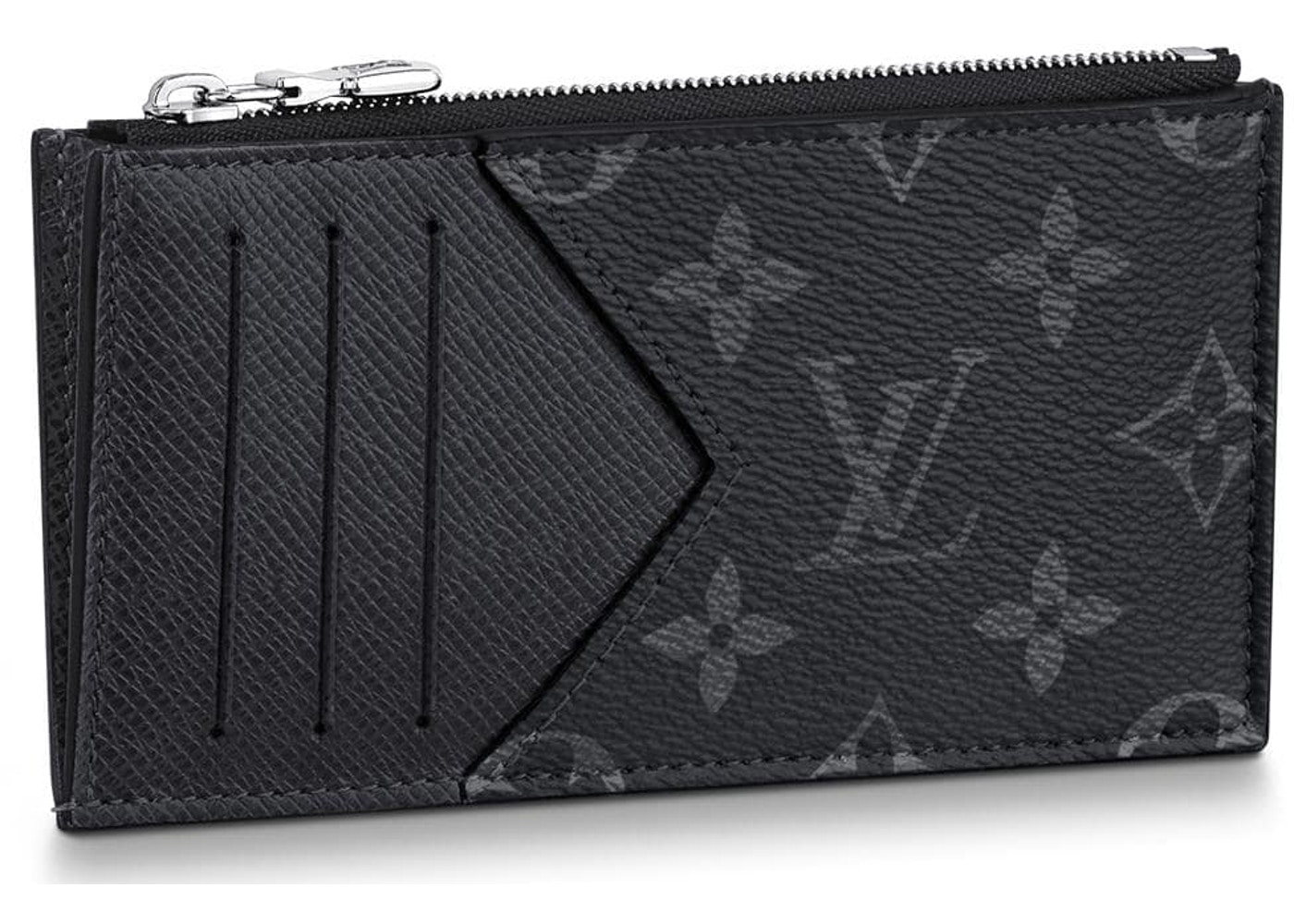 32d3325e2e Louis Vuitton Coin Card Holder Monogram Eclipse Taiga Black
