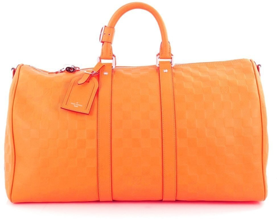 Louis Vuitton Duffle Keepall Bandouliere Damier Infini Embossed 45 Neon Orange