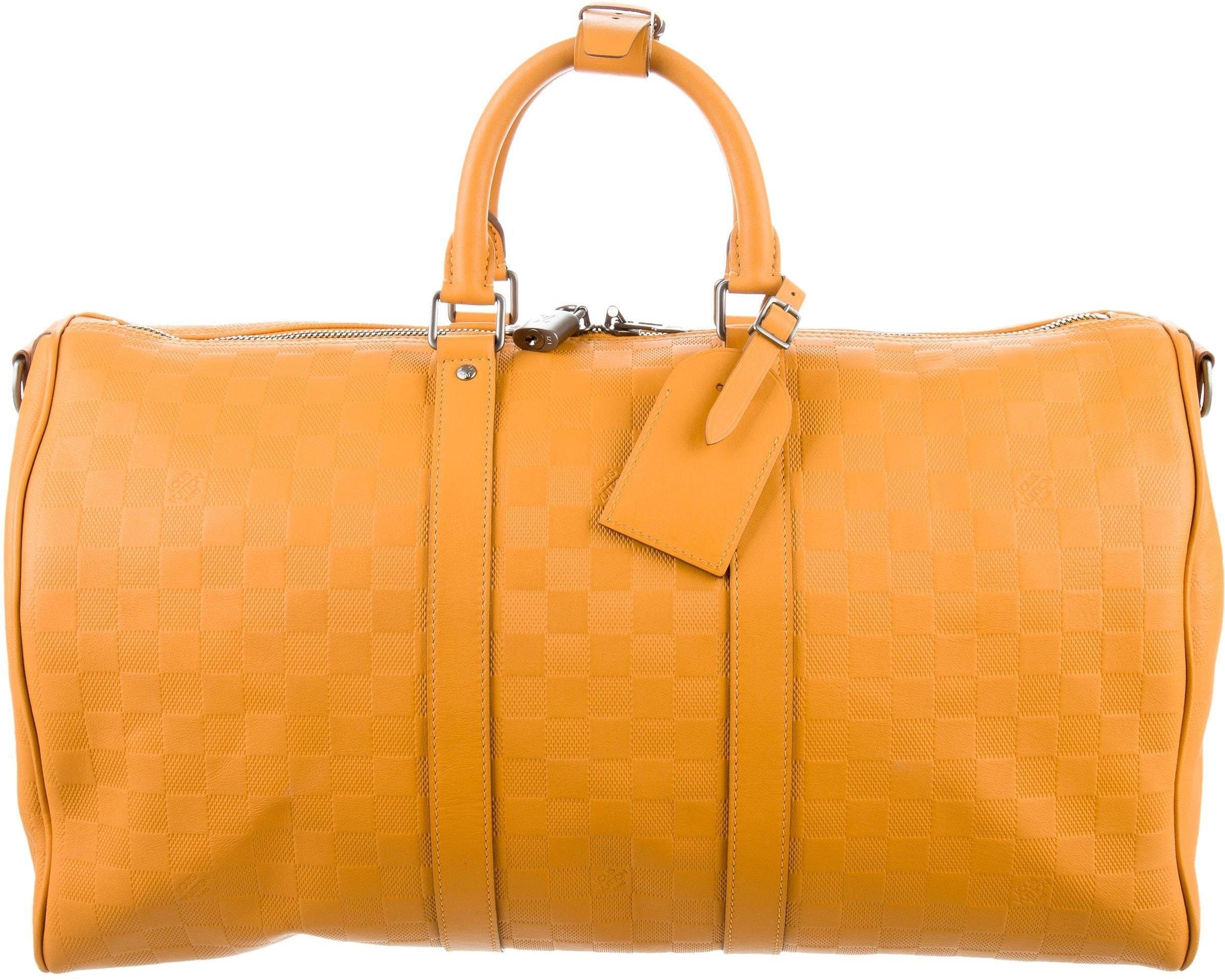 Louis Vuitton Duffle Keepall Bandouliere Damier Infini Embossed 45 Yellow