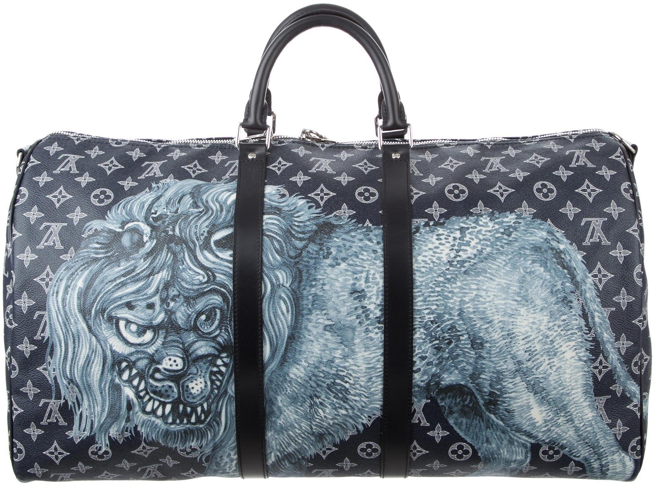 Louis Vuitton Duffle Keepall Bandouliere Savane Monogram Chapman Lion Motif 55 Midnight/ Multicolor