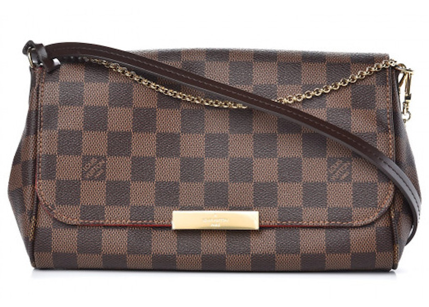 a3c48f0a6a5 Louis Vuitton Favorite Damier Ebene MM Red Lining