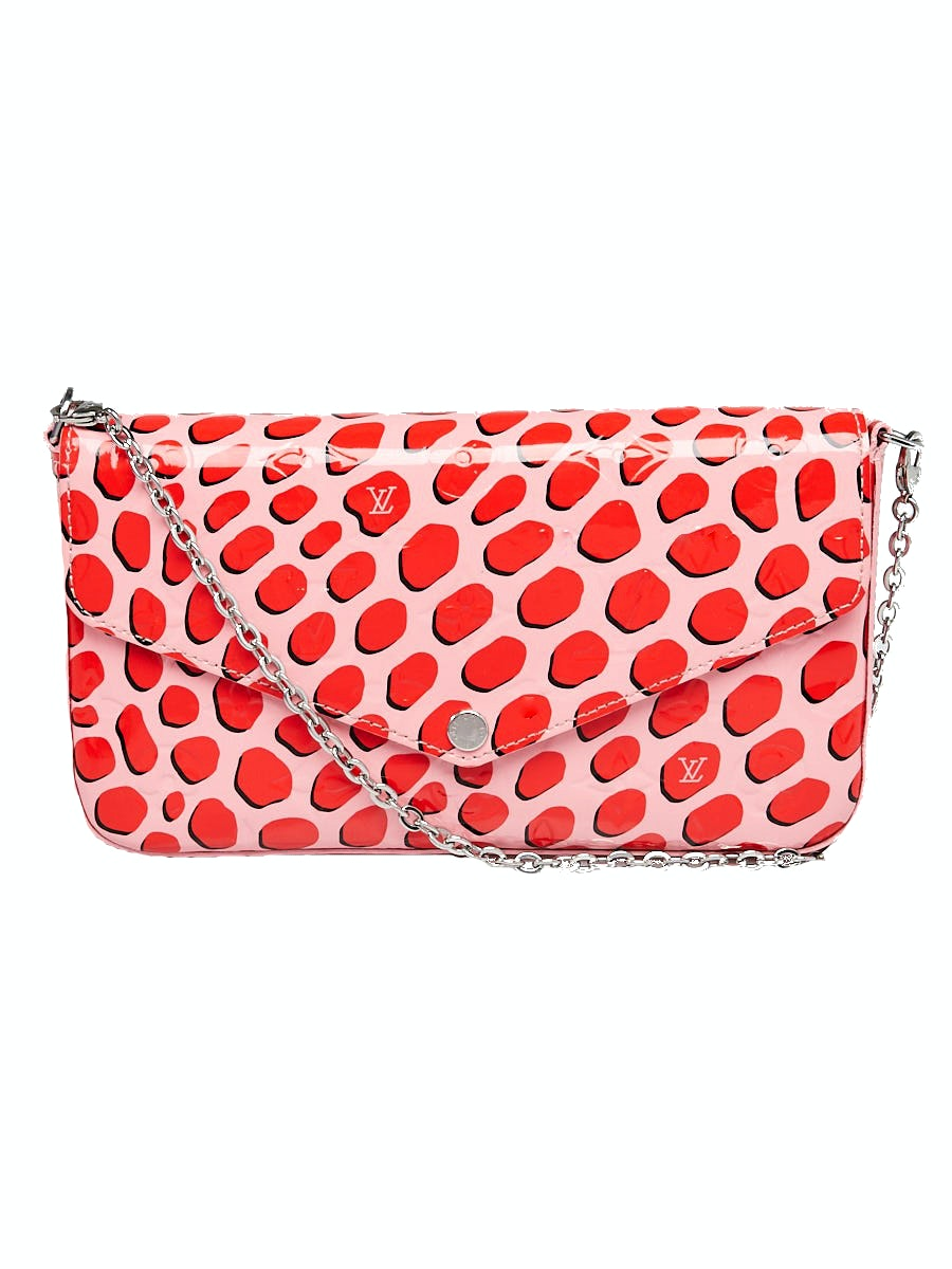 Louis Vuitton Pochette Felicie Jungle Dots Patent Leather Sugar Poppy Pink
