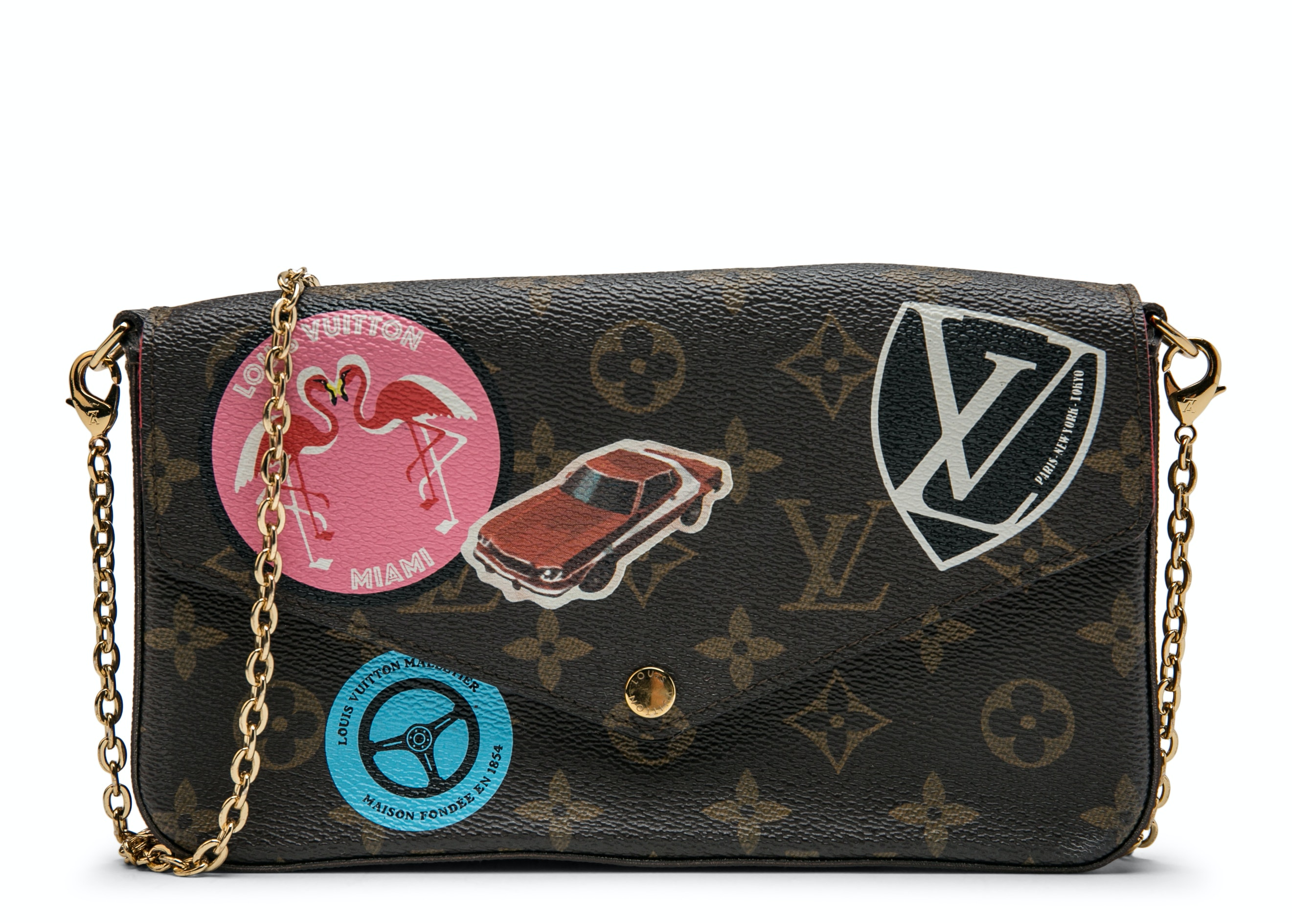 Louis Vuitton Felicie Pochette Monogram World Tour Brown