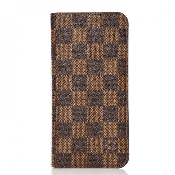 Louis Vuitton Folio Case Iphone 7 Plus Damier Ebene Brown