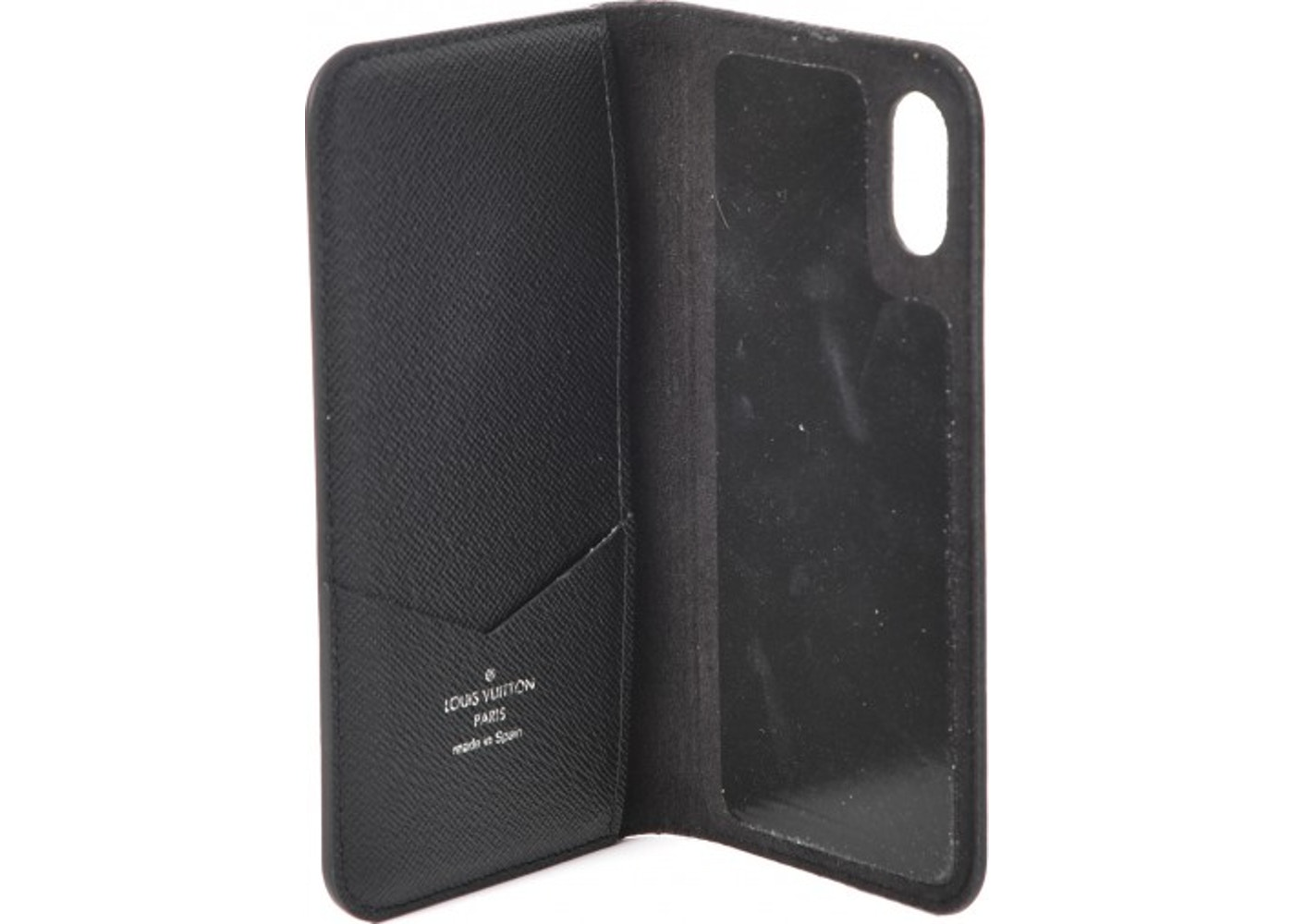 sale retailer f0a9c c96fa Louis Vuitton Folio Case iPhone X Monogram Eclipse Gray/Black