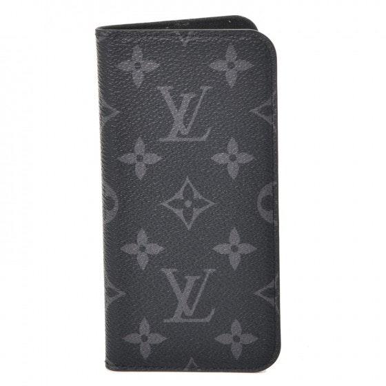 Louis Vuitton Folio Case iPhone X Monogram Eclipse Gray/Black