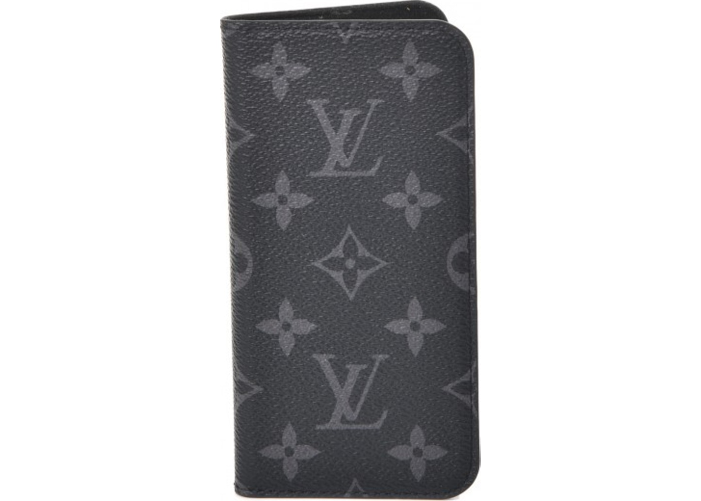 sale retailer 64123 bcefa Louis Vuitton Folio Case iPhone X Monogram Eclipse Gray/Black