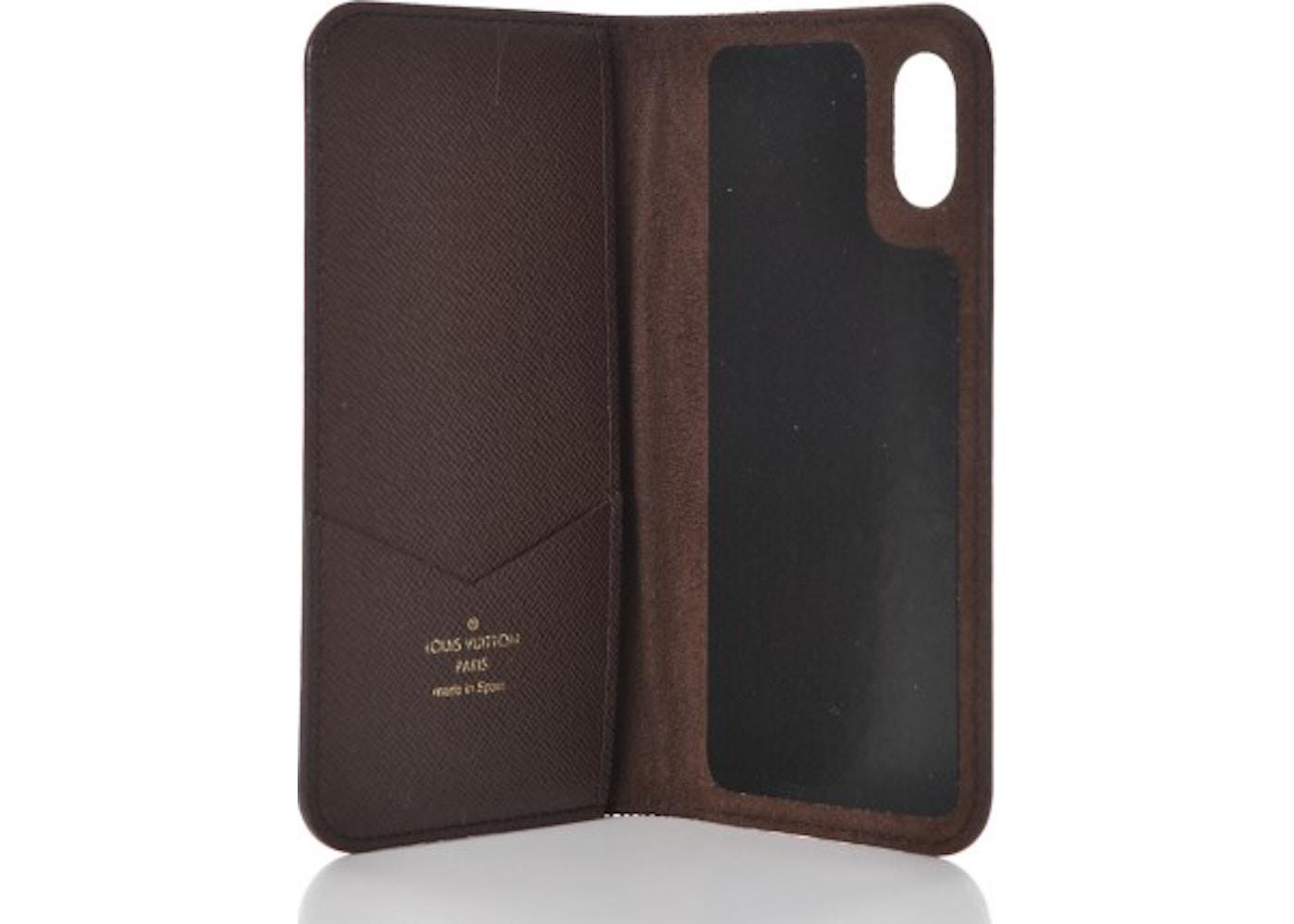 sports shoes 33186 1d8d3 Louis Vuitton Folio Case iPhone X Monogram Brown