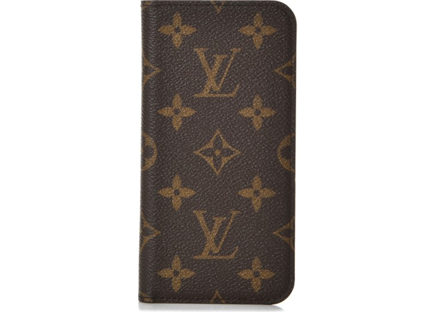 sports shoes a3950 556c8 Louis Vuitton Folio Case iPhone X Monogram Brown