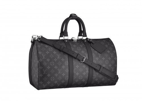 Louis Vuitton Keepall Bandouliere Monogram Eclipse 55 Black/Gray (With Accessories)