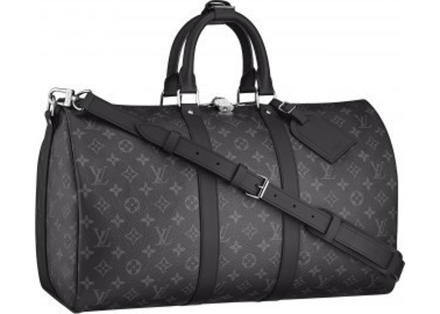 Louis Vuitton Keepall Bandouliere Monogram Eclipse 55 Black Gray With Accessories