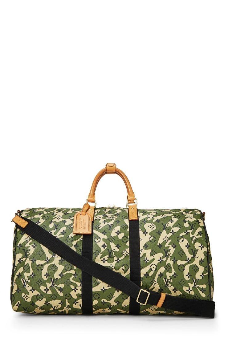 Louis Vuitton Keepall Bandouliere Monogramouflage 55 Green/Beige/Black