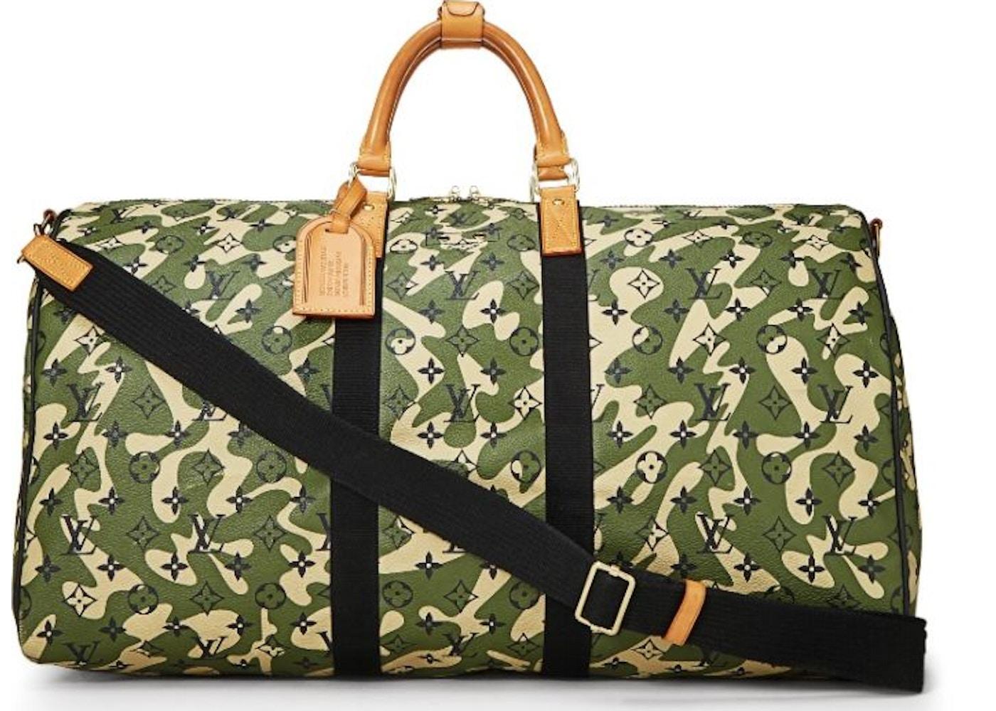 954a7599bb2f Louis Vuitton Keepall Bandouliere Monogramouflage 55 Green Beige Black.  Monogramouflage 55 Green Beige Black