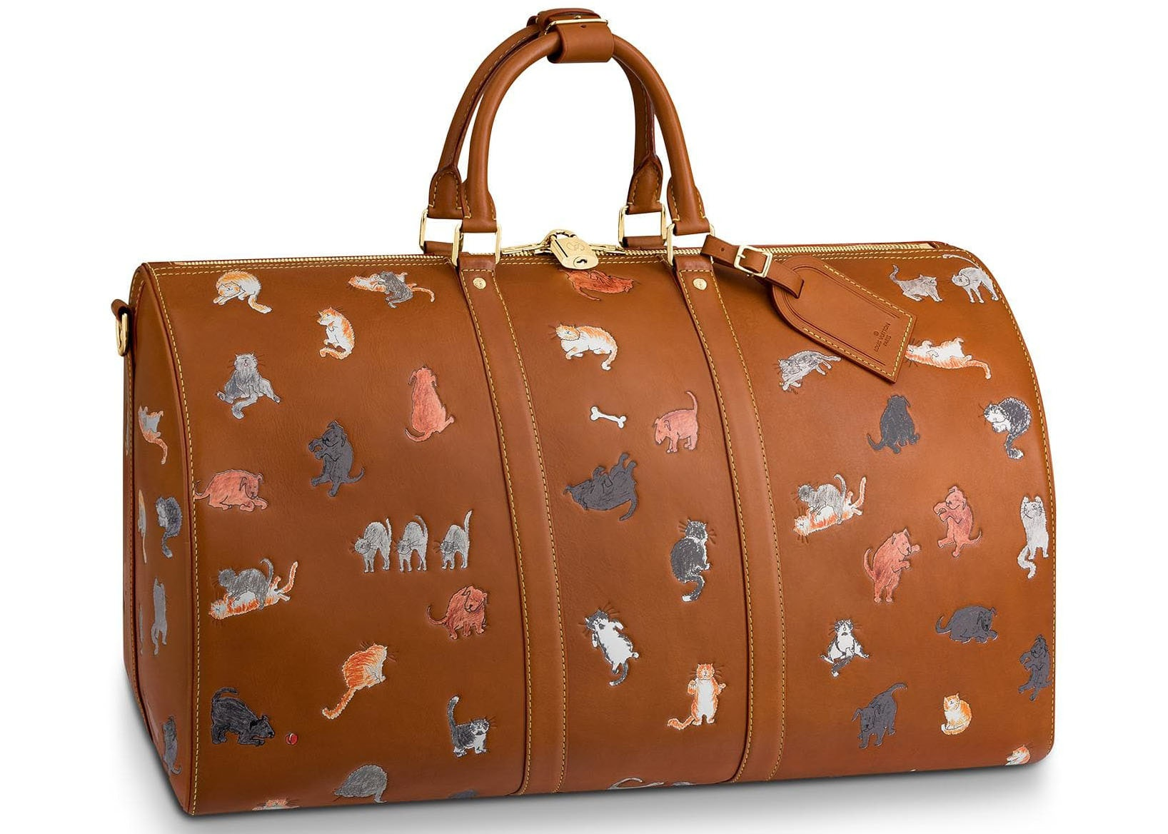 Louis Vuitton Keepall Bandouliere Catogram 55 Tan