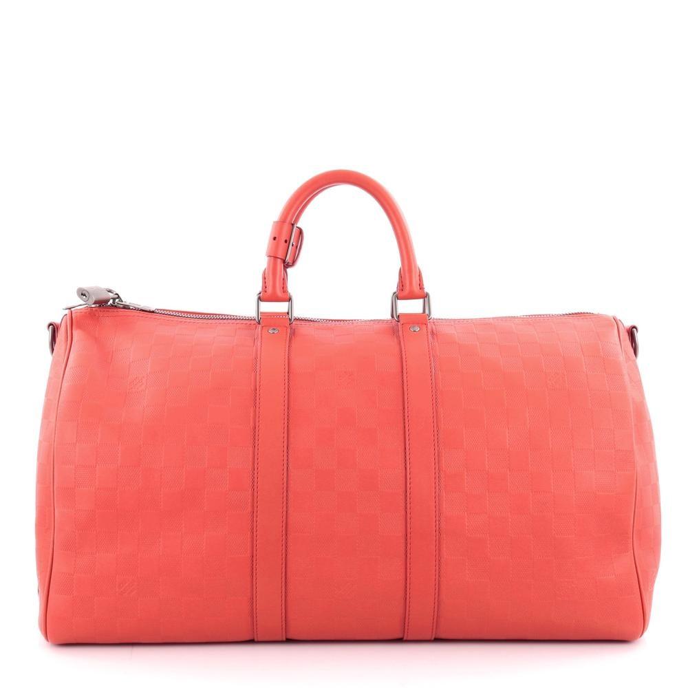 Louis Vuitton Keepall Bandouliere Damier Infini 45 Red Orange