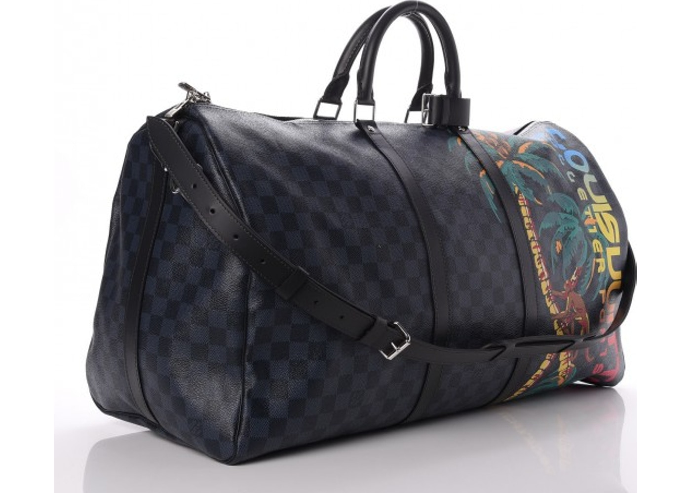 9cb23b2a5b5a1 Louis Vuitton Keepall Bandouliere Damier Cobalt Jungle With  Accessories Printed 55 Black Blue