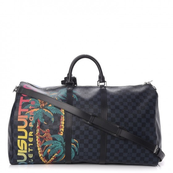Louis Vuitton Keepall Bandouliere Damier Cobalt Jungle With Accessories/Printed 55 Black/Blue