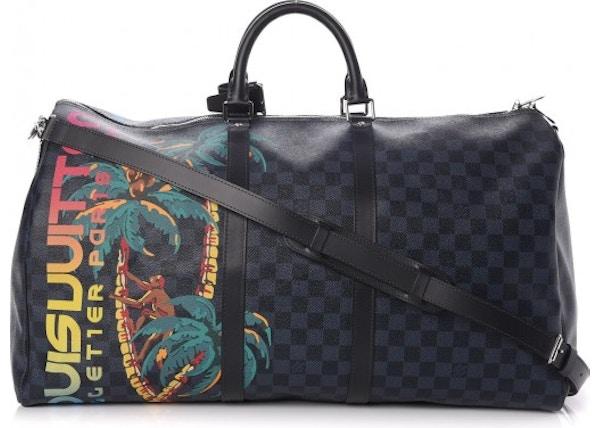 03c2e3f8ddca Louis Vuitton Keepall Bandouliere Damier Cobalt Jungle With  Accessories Printed 55 Black Blue