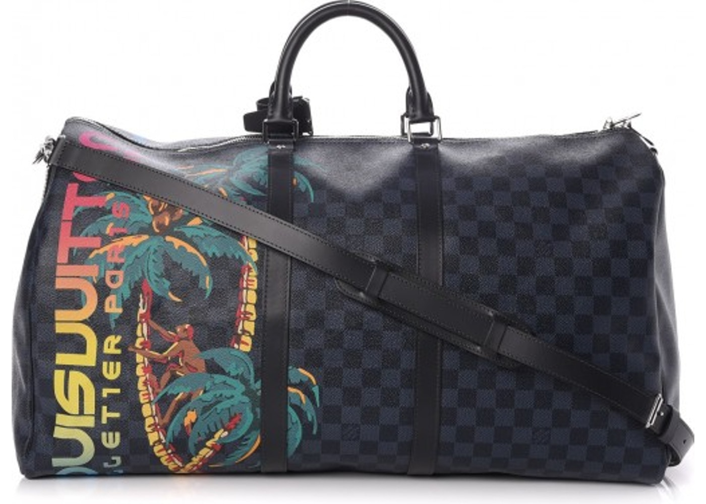 8eb7f820699bb Louis Vuitton Keepall Bandouliere Damier Cobalt Jungle With  Accessories Printed 55 Black Blue. Damier Cobalt Jungle With  Accessories Printed 55 Black Blue
