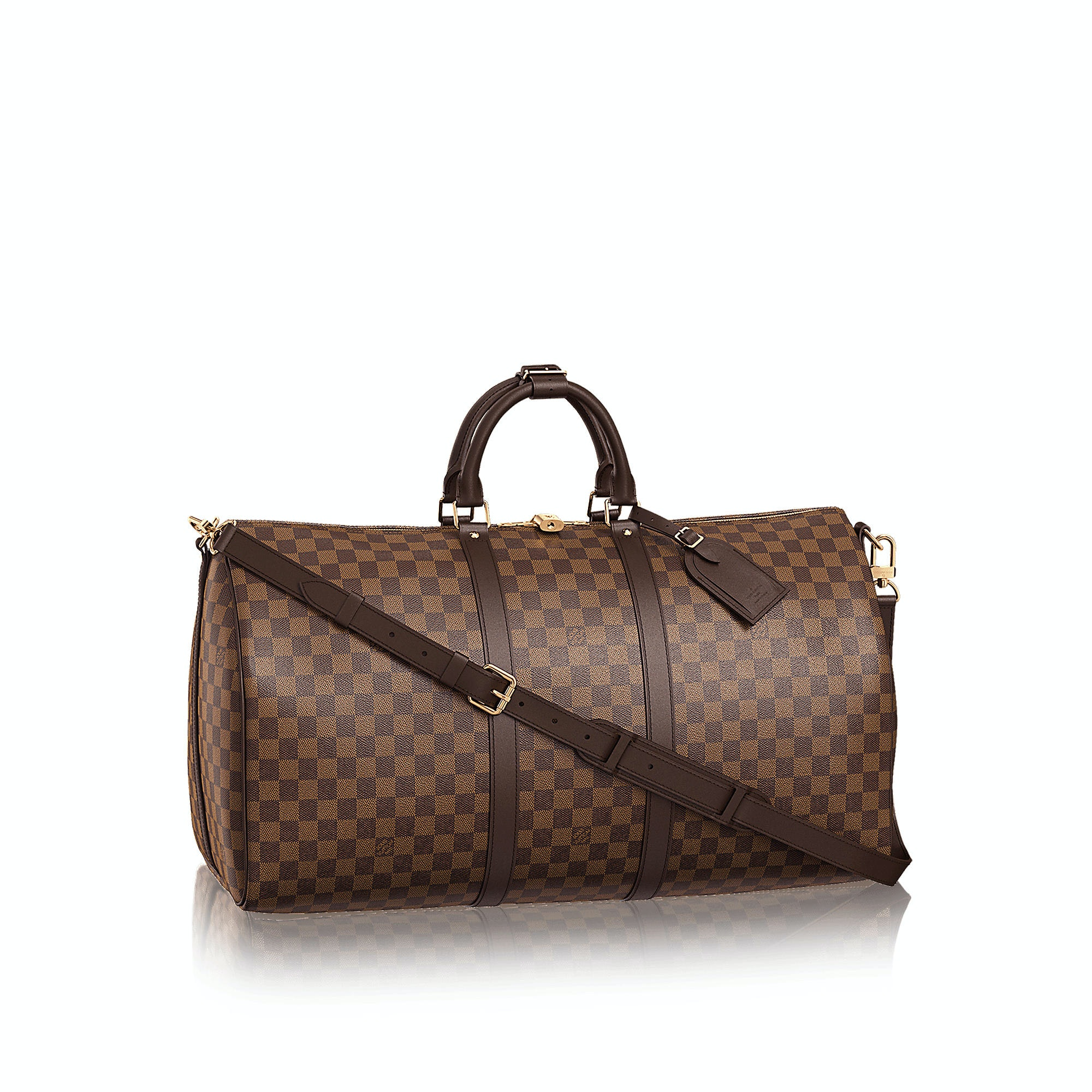 Louis Vuitton Keepall Bandouliere Damier Ebene (With Accessories) 55 Brown