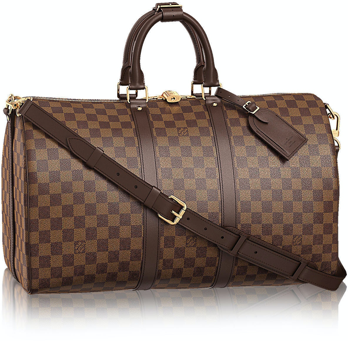 Louis Vuitton Keepall Bandouliere Damier Ebene (With Accessories) 45 Brown