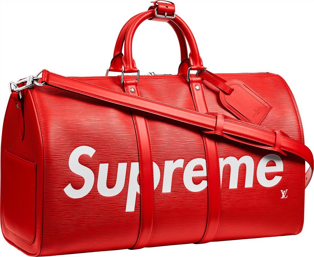 Louis Vuitton x Supreme Keepall Bandouliere Epi 45 Red