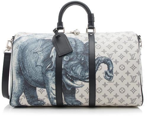Louis Vuitton Keepall Bandouliere Monogram Chapman Brothers Elephant Safari 45 Blue/Gray