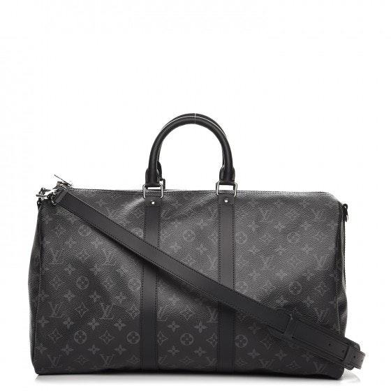 Louis Vuitton Keepall Bandouliere Monogram Eclipse 45 Black Grey (No Accessories)