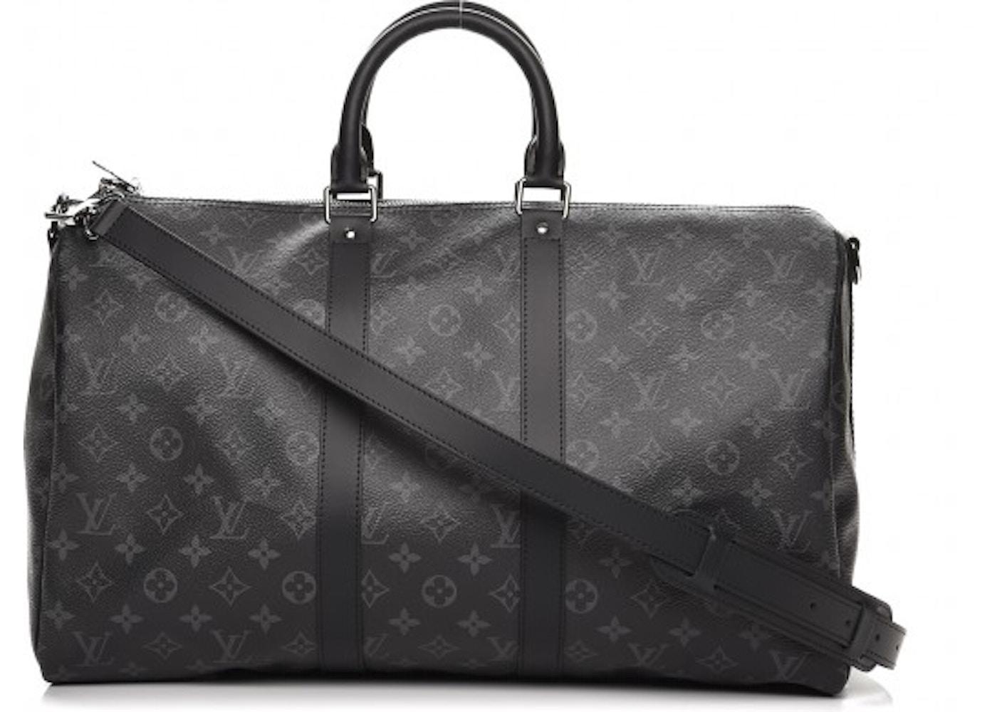 beb1c2ca650f Louis Vuitton Keepall Bandouliere Monogram Eclipse 45 Black Grey (No  Accessories). Monogram Eclipse 45 Black Grey (No Accessories)
