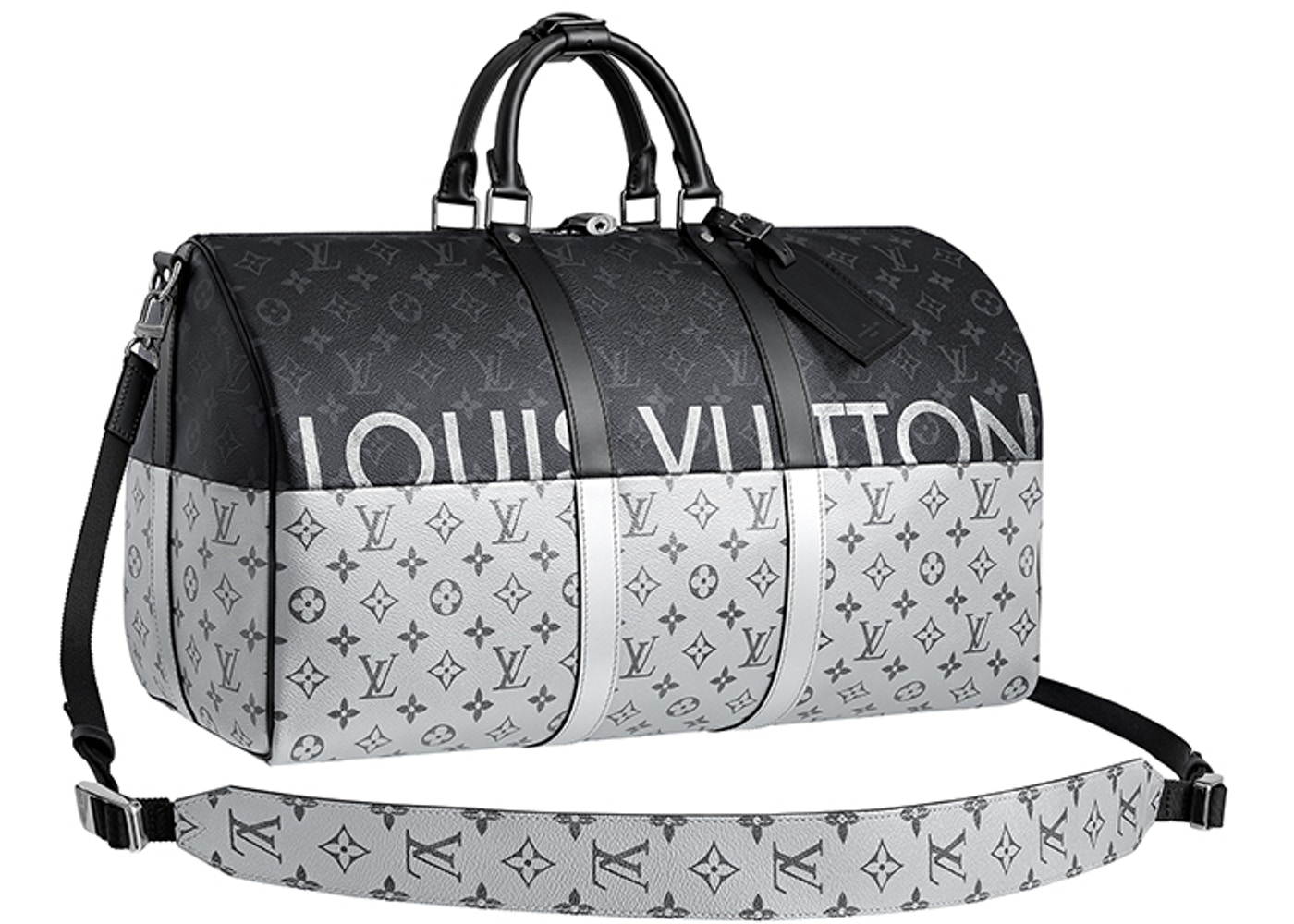 8fd212b5cc3 Louis Vuitton Keepall Bandouliere Monogram Eclipse Outdoor Split 50  Black/Silver