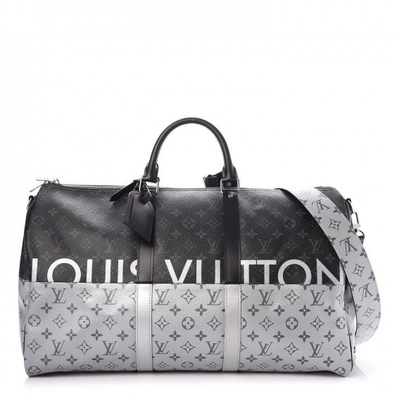 Louis Vuitton Keepall Bandouliere Monogram Eclipse Split With Accessories 50 Black/Silver