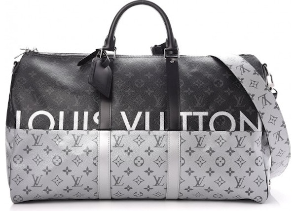 8c142d150 Louis Vuitton Keepall Bandouliere Monogram Eclipse Outdoor Split 50  Black/Silver
