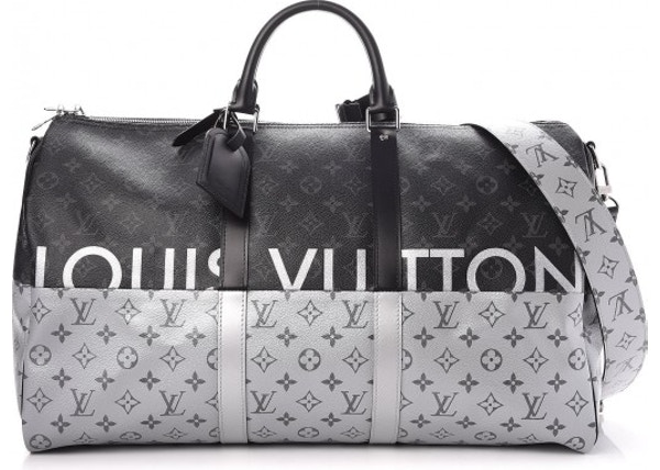 Louis Vuitton Keepall Bandouliere Monogram Eclipse Split With Accessories  50 Black Silver 37bc88663abc1